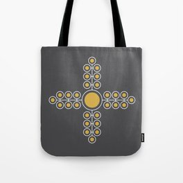 Minimalist Flowers Cross Pattern (Spicy Mustard, Charcoal Black) Tote Bag