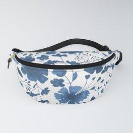 Blue Watercolour Floral Pattern Fanny Pack