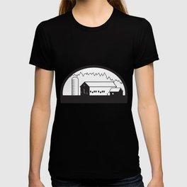 Farm Barn House Silo Black and White T-shirt