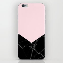 light pink and black marble iPhone Skin