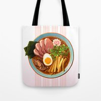 ramen Tote Bags featuring Ramen by Tami Wicinas