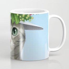 A cat wearing a flower hat Coffee Mug