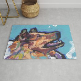 fun ROUGH COLLIE bright colorful Pop Art painting by Lea Rug