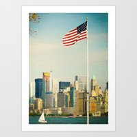 The flag and the city. Ellis Island, New York. Art Print