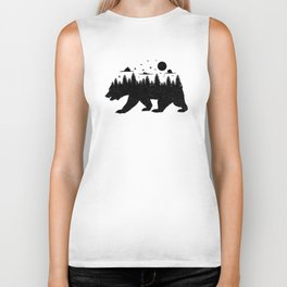 Bear Forest T Shirt Grizzly Silhouette Motif Nature Fusion Biker Tank