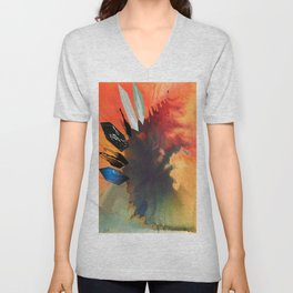 Colour Puddle with Polygon  Unisex V-Neck