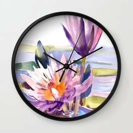 Water Lily,  Lotus, Asian Ink drawing Zen brush pink purple flower Wall Clock