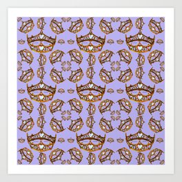 Queen of Hearts gold crowns tiaras repeat pattern on periwinkle background by Kristie Hubler Art Print