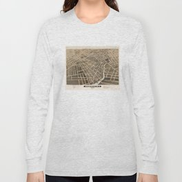 Vintage Pictorial Map of Rahway New Jersey (1874) Long Sleeve T-shirt