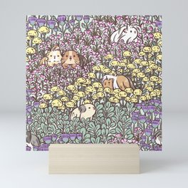 Long Haired Guinea pigs with Floral Garden Pattern  Mini Art Print