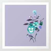 decal Art Prints featuring Pansy Decal Lavender & Turquoise by ThistleandFox