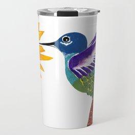 The Sunflower And The Hummingbird Travel Mug