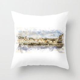 Staithes Harbour Throw Pillow