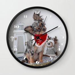 Cute Santa Chihuahua Puppy Wall Clock