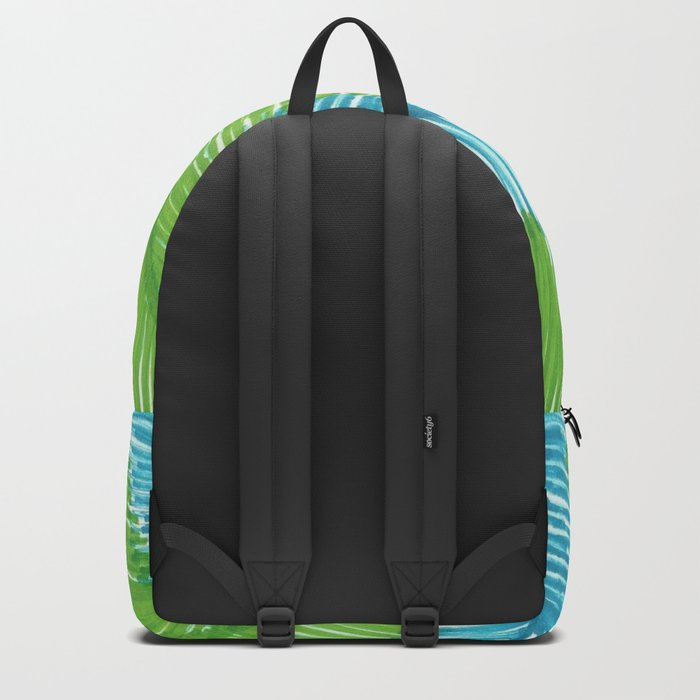 Blue and Green Palm Leaves Backpack