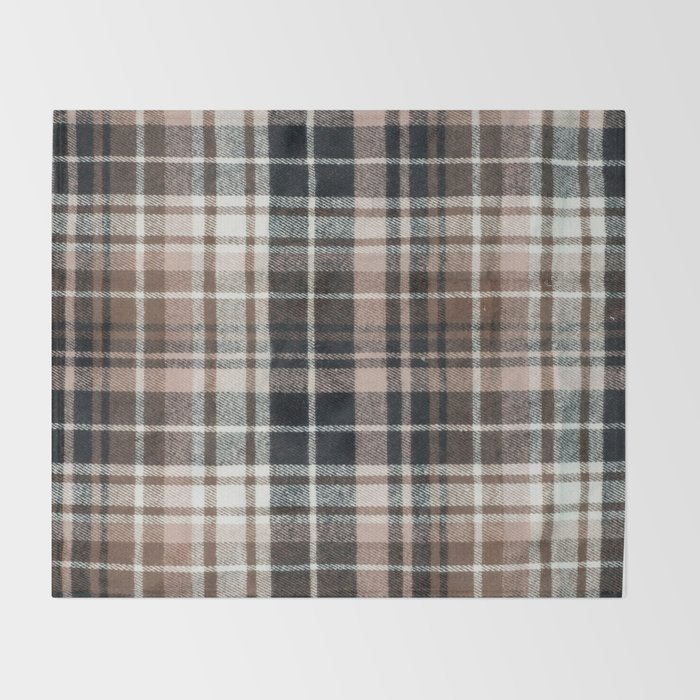 Plaid Fabric Print In Brown Black And White Throw Blanket By