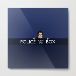 THE DOCTOR IN BLUE BOX Metal Print