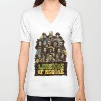 reggae V-neck T-shirts featuring Legends of Reggae Poster by Panda