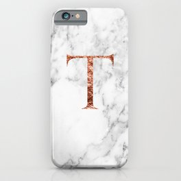 Monogram rose gold marble T iPhone Case