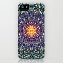 Happy Sun Circle Bohemian Geometric Thread Weave Pattern \\ Yellow Green Blue Purple Color Scheme iPhone Case