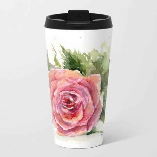 Red Rose Watercolor Pink Rose Flower Floral Art Metal Travel Mug