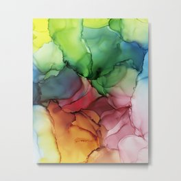 Rainbow Bloom Abstract ink Metal Print