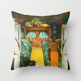Tehuana Women Bringing Fruit to Market by Diego Rivera Throw Pillow