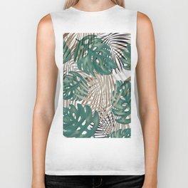 Tropical Leaves Nature Print Palm Fronds Biker Tank