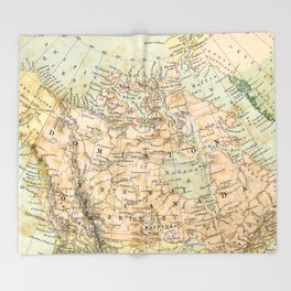 North America Vintage Map Throw Blanket