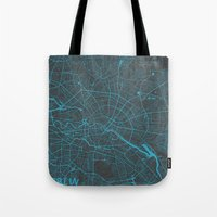 berlin Tote Bags featuring Berlin by Map Map Maps