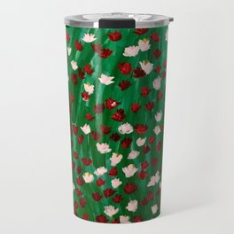 Red and White Flowers on Green Grass Travel Mug