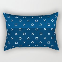 Gamepad Symbols Pattern - Navy Blue Rectangular Pillow