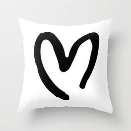Black and White Heart Throw Pillow