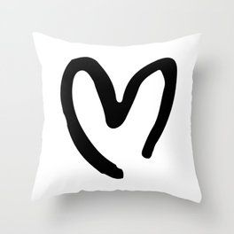 Black and White Heart Throw Pillow