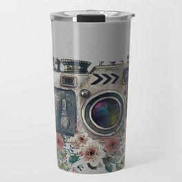 Camera with Summer Flowers Travel Mug