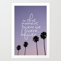 the perks of being a wallflower Art Prints featuring the perks of being a wallflower by Hannah