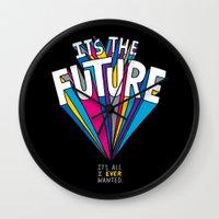 future Wall Clocks featuring The Future by Chris Piascik