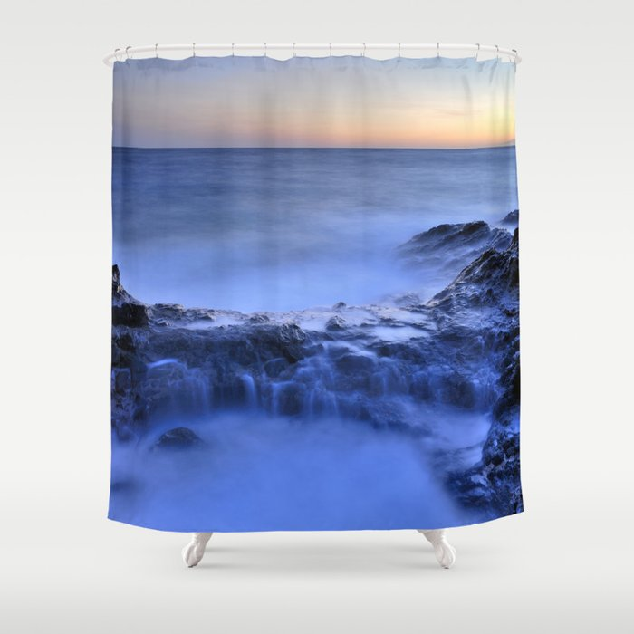 Blue Seaside Shower Curtain By Guidomontanes