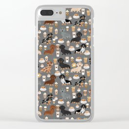 Dachshund coffee lover must have pet gifts dachsie doxie dog weener dog Clear iPhone Case