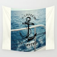 captain silva Wall Tapestries featuring O Captain, My Captain by Christina
