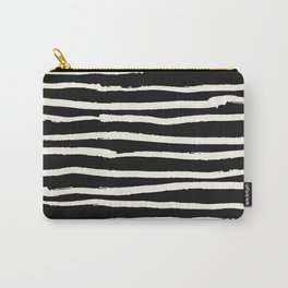 Hand Drawn Stripes on Black Carry-All Pouch