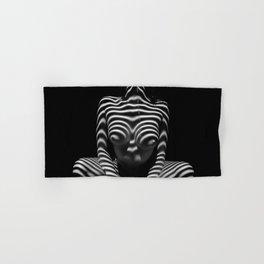1152-MAK Abstract Nude Black & White Zebra Striped Woman Topographic Feminine Body Hand & Bath Towel