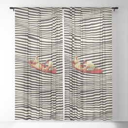 Illusionary Boat Ride 2 Sheer Curtain