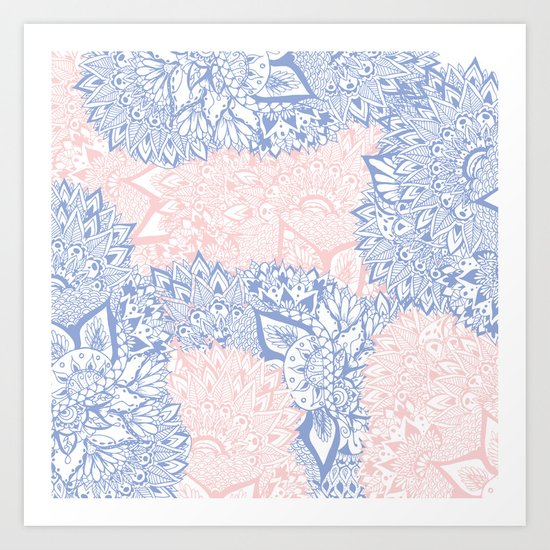 Modern pink rose quartz serenity blue mandala floral illustration Art Print