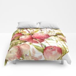Apple Tree, kitchen design red olive green kitchen fruits Comforters