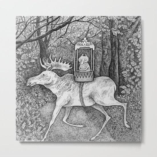Fox riding moose Metal Print