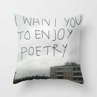 poetry Throw Pillows featuring poetry by Willow Summers
