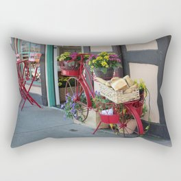 Bakery in Bicycle Basket At Solvang in Color Rectangular Pillow