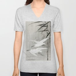 Egrets flying over the swamp - Japanese vintage woodblock print art Unisex V-Neck