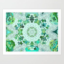 Green on Green Leaves of a Circle Design at Greenbeemee Art Print